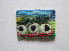sheep aceo original textile aceo felt art by SueForeyfibreart Blanket Stitch, Felt Art, Needle Felting, Fiber Art, Pink Flowers, Sheep, Hand Sewing, Original Art
