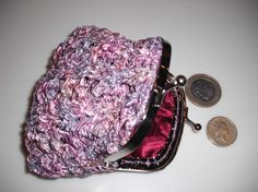 Knitting pattern for ribbon yarn coin purse by AgrarianArtisan
