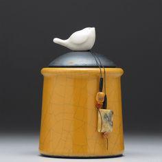 Ceramic Bird jar, raku fired art pottery - Steve Vachon and Sue Davis