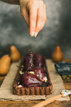 Poached Pears in a Chocolate, and Mascarpone Nutty Tart with Malbec Molasses Quiche, Mousse, Poached Pears, Cupcakes, Almond Recipes, Chocolate, Dessert Recipes, Pie Recipes, Sweet Tooth