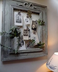 DIY Beautiful Memo Board with an Old Frame and Chicken Wire