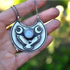 Custom Owl and Moonstone Pendant by Nicole of Arrok Metal Studio. Handmade Handcrafted Statement Necklace Jewelry. Boho Festival Style.