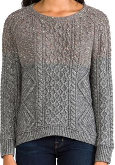 INHABIT Cable Knit Pullover in Mid-Grey - New