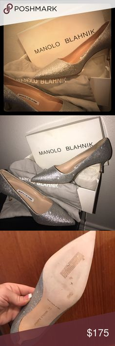Manolo Blahnik silver glitter size 37 Silver glitter size 37 Worn only in house to try them on and walk in. Have box, and dust bag Shoes Heels