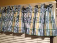 Window Valances Plaid by Waverly Blue Green Yellow White  #Waverly #FrenchCountry