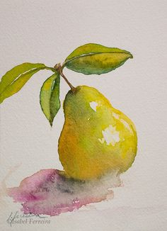 Isa Ferreira Watercolor Fruit, Fruit Painting, Abstract Watercolor, Watercolor Illustration, Watercolour Painting, Watercolor Flowers, Painting & Drawing, Watercolors, Art Drawings For Kids