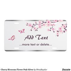 Cherry Blossoms Flower Pink Silver License Plate