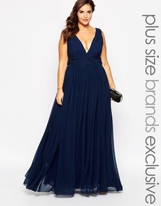 Image 1 of Forever Unique Plus Plunge Neck Maxi Dress