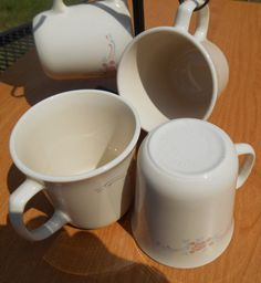 6 Corelle English Breakfast Flared Top Coffee Cups Vintage