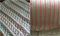 arrow afghan use variegated where pink rows are