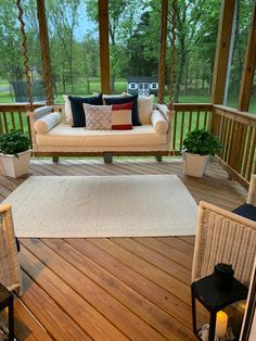This classic slat-rail Sunday Porch Swing is hand crafted of eucalyptus to be naturally moisture and insect resistant, and finished in a warm whitewash. Porch Swing, House Front Porch, Outdoor Space Design, Patio Couch, Sunroom Furniture, Front Porch Decorating, Beautiful Living Rooms, Outdoor Furniture Sets, Porch Design