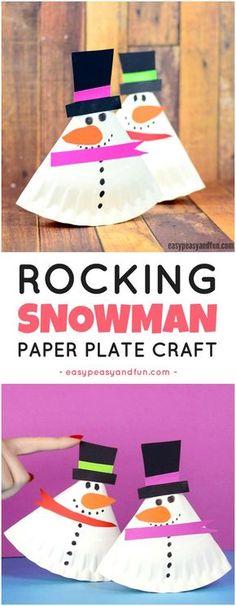 Rocking Paper Plate Snowman Craft for Kids. Fun paper plate craft for kids to make.