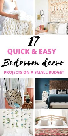 17 Stunning DIY projects for your bedroom. DIY home decor for teens and adults. Best romantic bedroom decor ideas and boho bedroom decor including tufted headboards and Tumblr bedroom decor. You can… Diy Projects For Your Bedroom, Diy Home Decor For Teens, Home Decor Hacks, Cute Home Decor, Decor Ideas, Tumblr Bedroom Decor, Romantic Bedroom Decor, Apartment Bedroom Decor, Ikea Bedroom