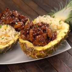 Missing the tropical tastes of summer already? Tired of the same old chicken and rice? We've got a solution for both problems: Teriyaki Chicken Pineapple Boats!
