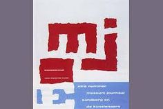 Willem Sandberg. Cover for Museum Journal. 1963. Sanberg designed contrasts between scale (large/small), color (red/blue/white), and edge (torn/sharp).