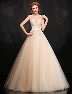 Formal Evening Dress - Champagne Ball Gown V-neck Floor-length Lace / Satin / Tulle