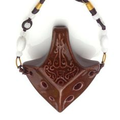 Spearhead Ocarina Brown by Focalink. $19.95. This ocarina in Soprano, key of C6-E7, has a bright, clear sound. The pendant shape and necklace make it easy to carry a tune with you wherever you go. A Songbook/Tutorial is included, making this instrument accessible to professionals and amateurs alike. This ocarina was produced by Zack Shih of Focalink, based in Taiwan. His instruments are of exceptional quality. Supported by the legendary Songbird customer service team.