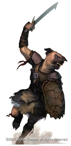 Dog-face Kobold fighter by *Akeiron on deviantART * In the early days of Dungeons and Dragons they couldn't seem to decide if kobolds were dog-faced, dog-faced with tiny horns, rat-like humanoids with tiny horns that tipped liked dogs or reptilian humanoids. They eventually settled on the reptilian (dragonkin) version.