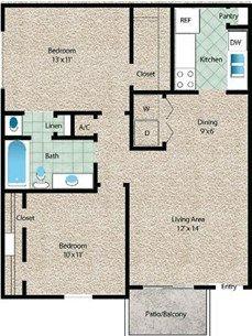 La Vista Floor Plan at The El Dorado View Apartments in Webster, TX