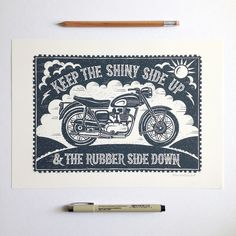 Biking Print | hand lettered and illustrated by Alexandra Snowdon #motorbikes #bikers #bikeart #illustration #typography