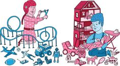 Though we've made great strides toward gender equity over the past 50 years, the world of toys looks a lot more like This Op-Ed asks whether gender segregation will continue to grow in the toy world. Gender Stereotypes, Gender Roles, Guys And Dolls, Toys For Girls, Gender Neutral Toys, Gender Equity, Marketing, Sociology, Sketches
