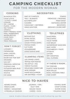 A modern guide to camping   printable packing list.
