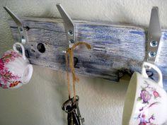 Wood with ikea hooks, cute.