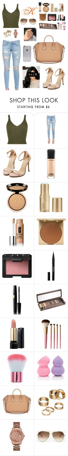 """""""Kylie Jenner Inspired Look"""" by vavavoom02 ❤ liked on Polyvore featuring rag & bone/JEAN, MAC Cosmetics, Giorgio Armani, Stila, Clinique, NARS Cosmetics, Urban Decay, Lancôme, Too Faced Cosmetics and Forever 21"""