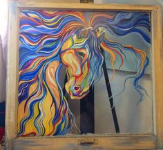 Spirited Acrylic Painting on Window Pane Glass Art by TheJoyZone, $250.00