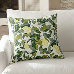 "Lemons 20"" Sq. Outdoor Pillow | Crate and Barrel"