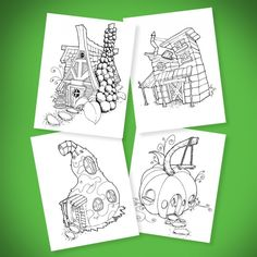 Examples of the fairy houses in my coloring book Welcome to the Neighborhood  https://www.etsy.com/listing/263637484/welcome-to-the-neighborhood