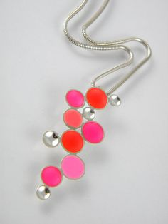 Hot Pink, Light Pink, Coral and Light Coral Sterling Silver and Resin Cascading Circle Pendant by etsy artist Bobbi Jo Simons