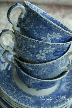 Blue flowered tea cups and saucers