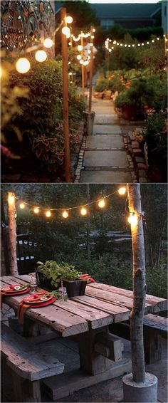 28 inspiring DIY outdoor lighting ideas: use string lights, solar lights and other outdoor lights easily to create beautiful patio and porch lighting for magical outdoor living and backyard parties! - A Piece Of Rainbow Garden Path Lighting, Backyard Lighting, Landscape Lighting, Porch Lighting, Exterior Lighting, Candle Lighting, Kitchen Lighting, House Lighting, Lights In Garden