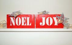Wooden Christmas Sign 'Noel' & 'joy' Red bold design by Imanderweddingsigns on Etsy