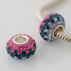 1 Bead - Pink Blue Stripe Stellux Rhinestone Sterling Silver Core .925 European Bead Charm ZS0213N LC0079