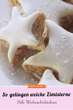 Cookies: Soft cinnamon stars- Plätzchen: Weiche Zimtsterne So soft cinnamon stars succeed in cookie time. If you like soft cinnamon stars rather than hard ones then you should definitely try our cookie recipe! Easy Smoothie Recipes, Easy Cookie Recipes, Baking Recipes, Cake Recipes, Dessert Recipes, Ice Cream Recipes, Cake Cookies, Cookies Soft, Food Cakes