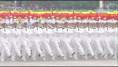 Officer cadets of the Dalian Naval Academy marching through Tiananmen Square in the 1999 Beijing National Day Parade