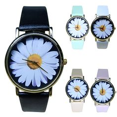 2015 New Arrival Women's Student's Daisy Wrist Watch Quartz Analog Faux Leather Flower Pattern 8HUX #Affiliate