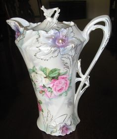 RS Prussia Carnation Chocolate Pot with Lustre Finish
