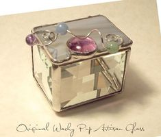 Beautiful Beveled Glass Box with Iridescent Stained by WackyPup, $39.95