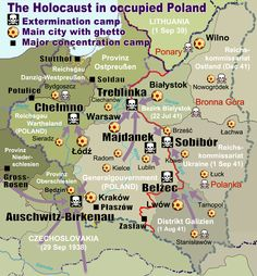 Map of the Holocaust in Poland during the Second World War (1939-1945) at the time of German occupation of Poland. This map shows all German Nazi extermination camps (or death camps), prominent concentration, labor and prison camps, major prewar Polish cities with ghettos set up by Nazi Germany, major deportation routes and major massacre sites.