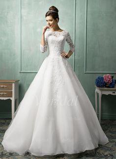 Bröllopsklänningar - $212.19 - A-linjeformat Rund-urringning Chapel släp Organzapåse Spets Bröllopsklänning (0025061653)