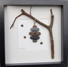 Beautiful pebble picture using a mixture of natural materials. In this picture you see the little pebble bees busily flying in and out of their pebble beehive. It is made in the Scottish Borders using natural materials gathered locally. Using natural material means that no two pictures will ever be quite the same, making this a completely unique addition to any room. The picture size, including frame, is 25x25cm If you are outside the UK, please contact me for shipping costs. All parcels...