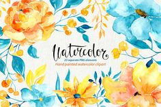 Watercolor flowers, branches, leaves by WatercolorS on @creativemarket