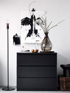MALM Commode 3 tiroirs, brun noir