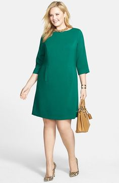 Eliza J Shift Dress & Accessories (Plus Size) available at I love emerald green and leopard together! Look Plus Size, Dress Plus Size, Plus Size Casual, Trendy Dresses, Plus Size Dresses, Elegant Dresses, Plus Size Women, Plus Size Outfits, Nice Dresses
