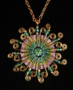 Woven Wire Sun Pendant Joan Babcock Class.  Macrame and wire.
