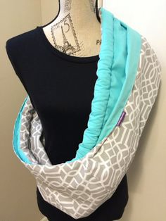 Baby Sling: Grey & Turquoise cotton. Reversible by LoveGrammaBaby