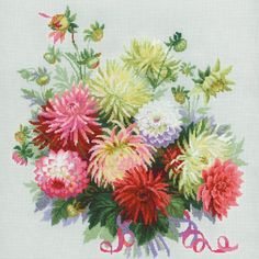 "Dahlias Counted Cross Stitch Kit-17.75""X17.75"" 14 Count"